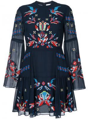 Платье с вышивкой крестиком Izzy Tanya Taylor. Цвет: синий