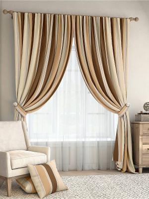 Комплект штор Ален ТОМДОМ. Цвет: коричневый, бежевый