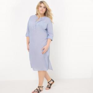 Платье-рубашка с длинными рукавами, спинка вышивкой CASTALUNA. Цвет: белый