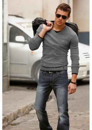 Пуловер BRUNO BANANI. Цвет: серый меланжевый