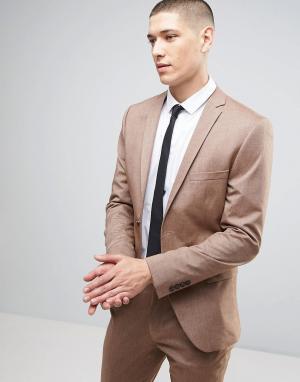 Selected Homme Супероблегающий пиджак. Цвет: коричневый