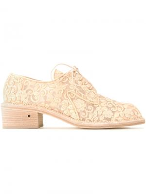 Ботинки на шнуровке с вышивкой Laurence Dacade. Цвет: телесный