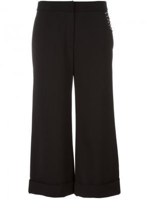 Укороченные брюки с отделкой кольцами Alexander Wang. Цвет: чёрный