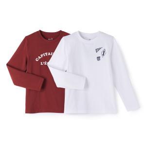 2 футболки 3-12 лет La Redoute Collections. Цвет: красный + белый