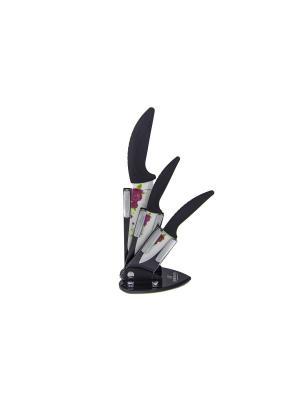 Набор ножей на подставке, 4шт BOHMANN. Цвет: черный