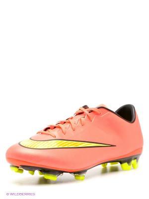 Бутсы MERCURIAL VELOCE II FG Nike. Цвет: коралловый, желтый