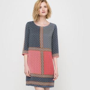 Платье с рукавами 3/4 и графическим рисунком La Redoute Collections. Цвет: рисунок разноцветный