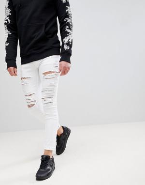Criminal Damage Белые обтягивающие джинсы с рваной отделкой. Цвет: белый