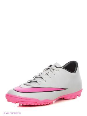 Шиповки MERCURIAL VICTORY V TF Nike. Цвет: серый, бледно-розовый