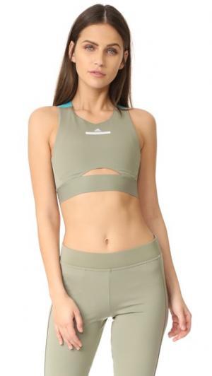 Спортивный бюстгальтер Run adidas by Stella McCartney. Цвет: пепельно-зеленый/изумрудный