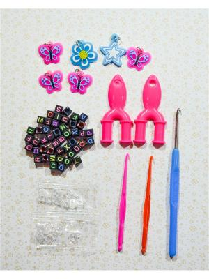 Набор для поделок кубики крючок брелоки рогатка S-зажимы Loom Bands. Цвет: розовый