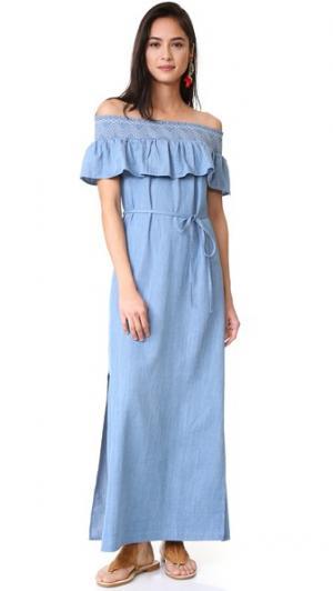 Макси-платье с открытыми плечами Moon River. Цвет: голубой