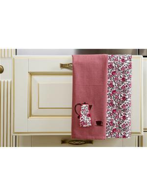Набор полотенец кухонных Вечерний кофе - 2 шт., 100% хлопок. ARLONI. Цвет: малиновый