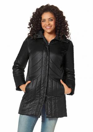 Стеганое пальто BOYSENS BOYSEN'S. Цвет: серо-коричневый, черный