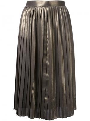 Плиссированная юбка до колена Cityshop. Цвет: металлический