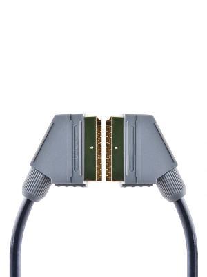 Кабель SCART вилка - вилка, GOLD, 21 pin, 1.8 м. Belsis. Цвет: серый