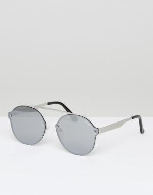 Quay Australia Круглые солнцезащитные очки в серебристой оправе Camden. Цвет: серебряный