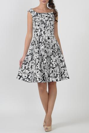 Платье с овальным вырезом, юбка в складку Blumarine. Цвет: черно-белый