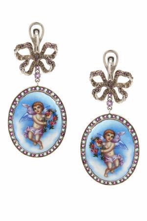Серебряные серьги «Ангелы» с аметистами и голубыми топазами Axenoff Jewellery. Цвет: голубой