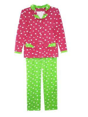 Пижама с начесом Тефия. Цвет: розовый, зеленый
