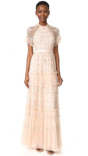 Кружевное вечернее платье Constellation Needle & Thread. Цвет: розовый лепесток