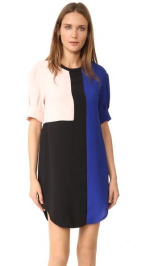Платье-рубашка Jenna Timo Weiland. Цвет: черный/синий/розовый