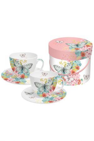 Набор чашек для капучино 200мл PAPERPRODUCTS DESIGN. Цвет: белый, розовый, бабочки