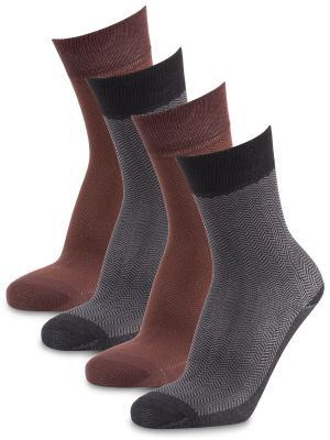 Носки Dark Breeze, (4 пары) Artsocks. Цвет: серый, коричневый