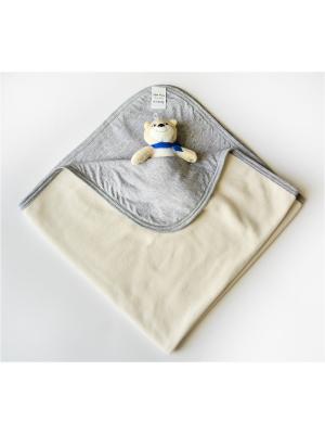 Пледик 75х75 флис+хлопок Ням-Ням. Цвет: серый меланж, молочный