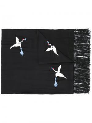 Шарф с вышивкой птиц The Kooples. Цвет: чёрный