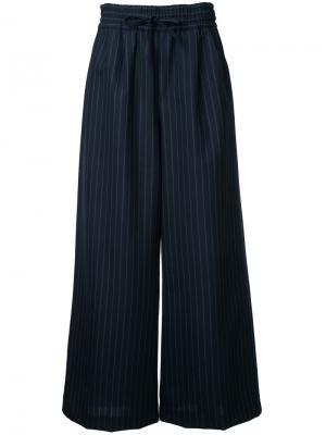 Широкие брюки в полоску Muveil. Цвет: синий