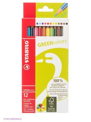 Набор цветных карандашей Stabilo. Цвет: салатовый, красный