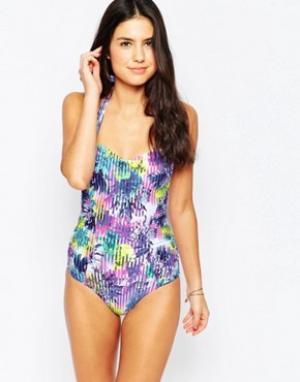 Sunseeker Слитный купальник с ярким цветочным принтом. Цвет: фиолетовый