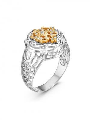Кольцо Серебро России. Цвет: серебристый, золотистый