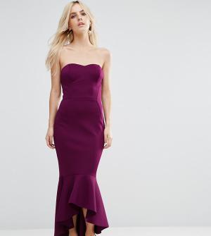 ASOS Petite Платье-бандо с баской. Цвет: фиолетовый