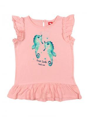 Платье типа туника для девочки Cherubino. Цвет: бледно-розовый