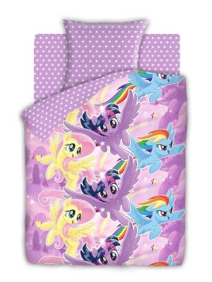 Комплект постельного белья 1,5 бязь My Little Pony Небесные пони Непоседа. Цвет: фиолетовый