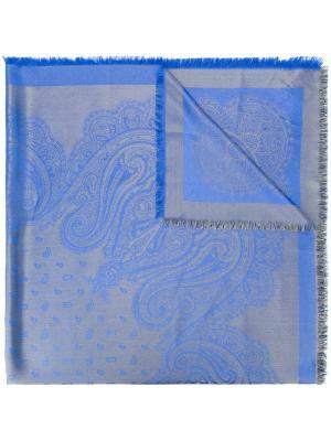 Платок с узором пейсли Etro. Цвет: синий