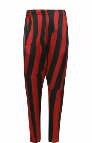 Укороченные шелковые брюки в полоску Ann Demeulemeester. Цвет: бордовый