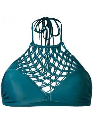 Бикини с плетеной вставкой на груди Mikoh. Цвет: синий