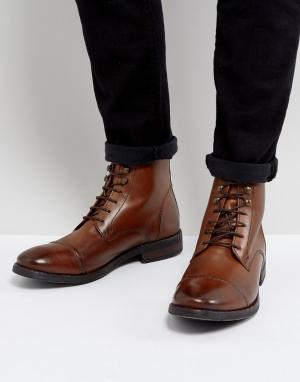 Base London Светло-коричневые кожаные ботинки в стиле милитари Clapham. Цвет: рыжий