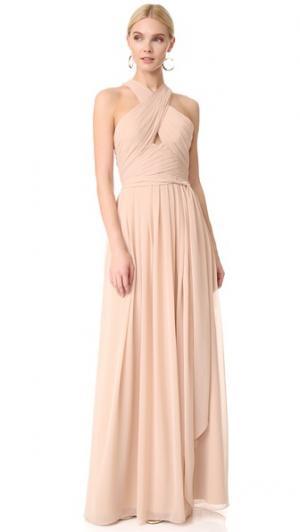 Вечернее платье с американской проймой и вырезом Monique Lhuillier Bridesmaids. Цвет: бамбук