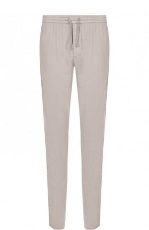 Хлопковые брюки прямого кроя Berwich. Цвет: светло-бежевый