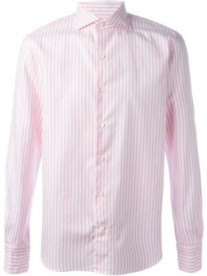 Полосатая рубашка Gabriele Pasini. Цвет: розовый и фиолетовый