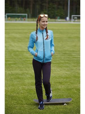 Костюм спортивный для девочек FOR REST. Цвет: голубой, черный