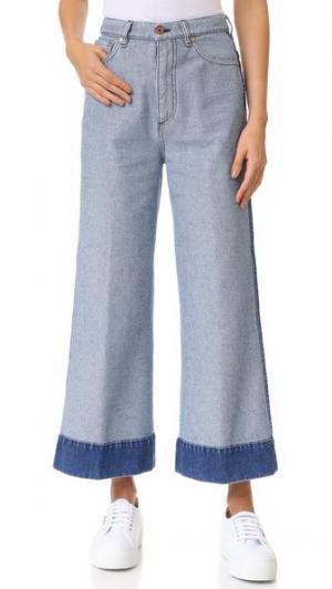 Джинсы с широкими укороченными брючинами Cedric Charlier. Цвет: голубой