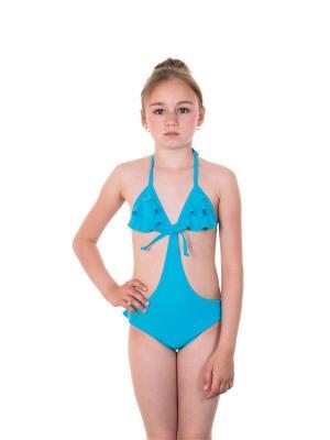 Слитные купальники EMDI. Цвет: голубой