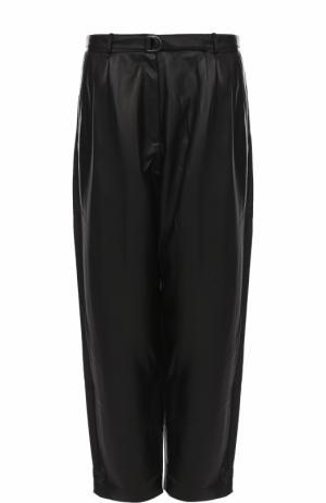 Кожаные брюки-бананы с защипами и поясом Alexander Terekhov. Цвет: черный