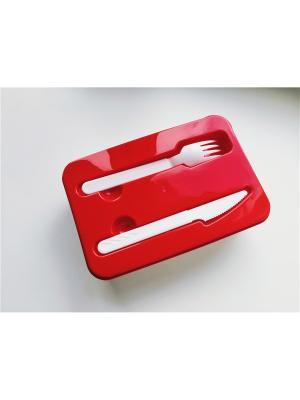 Контейнер для обеда со столовыми приборами (227х155х70)(красный) Альтернатива. Цвет: красный