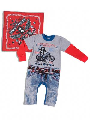 Комплект одежды Апрель. Цвет: серый, красный